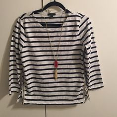 J.Crew top Like new! Only worn once beautiful fit! Necklace is not included. Navy blue/white J. Crew Tops