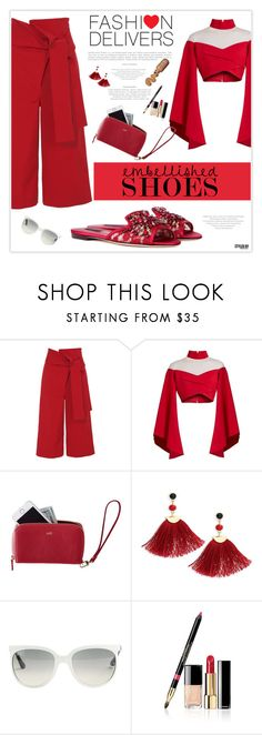 """""""Magic Slippers: Embellished Shoes"""" by marion-fashionista-diva-miller ❤ liked on Polyvore featuring TIBI, Dolce&Gabbana, Balmain, Mark & Graham, Shashi, Ray-Ban, Chanel, red, springfashion and embellishedshoes"""