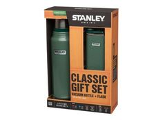 Stanley, Classic Gift Set, Vakuum Flasche+Taschenflasche 18/8 Edelstahl, Hammerschlag grün, Vakuum-Isolation