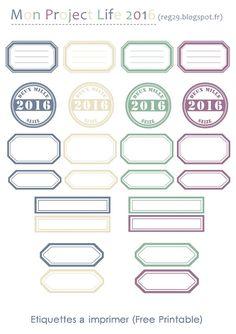 Etiquettes Imprimable - Free printable - Project Life - Pages de Scrap - Planner etc..