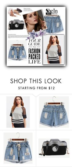 """""""Contest (shein)! - Win these ripped blue denim shorts!"""" by luisa-lisa ❤ liked on Polyvore featuring Beauty Secrets, Bloomingdale's and Laura Mercier"""