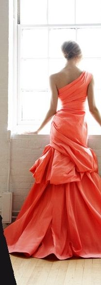♔ Coral ~ Colette Le Mason @}-,-;--- What a stunning color! And that dress!