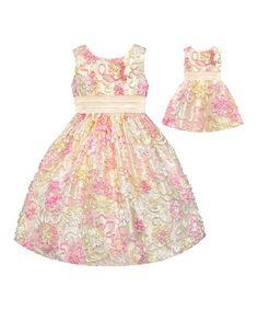 Another great find on #zulily! Yellow Sequin Flower Dress & Doll Dress - Toddler & Girls #zulilyfinds