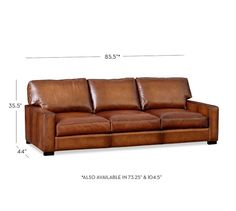 Turner Square Arm Leather Sofa | Pottery Barn; THE TURNER ALSO COMES WITH A SQUARE ARM: SIZES ARE SLIGHTLY DIFFERENT* If you choose a square arm for sofa, I would get a rounded arm foe recliner; and vice versa for round arm sofa...