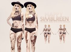 Sims 4 CC's - The Best: Halloween-themed tattoo sets by Valhallan