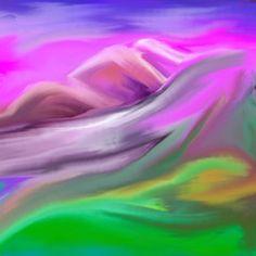 Surreale Landschaft in grün und violett, handzeichnung, digital bearbeitet, Berge im Hintergrund, Wiesen im Vordergrund Clipart, Adobe, Northern Lights, Drawing Hands, Mountains, Pretty Pictures, Landscape, Creative, Nice Asses
