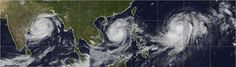 Radar images: Three powerful storms—Phailin, Nari, and Wipha—menace Asia at the same time  ​