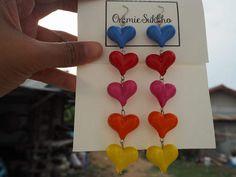 colorful heart acrylic dangle  earrings/ hook earrings/ handmade earrings/ custom made earrings by ommiesukkho on Etsy