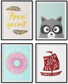 Four super cute FREE nursery art printables. If you're looking for a fast, easy and free way to decorate your little baby or kid's wall, then hop on over to www.thekiwiintheclouds.com and get some free nursery art.
