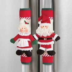 Mr and Mrs Santa Claus Appliance Fridge Handle Covers Christmas Holiday Kitchen Christmas Sewing, Christmas Kitchen, Christmas Holidays, Christmas Tabletop, Winter Holiday, Merry Christmas, Diy And Crafts, Christmas Crafts, Christmas Ornaments
