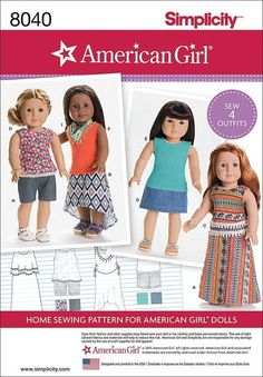 "Simplicity S0170 or 8040 Sewing Patterns American Girl 18"""" Doll Clothing 4 Outfits"