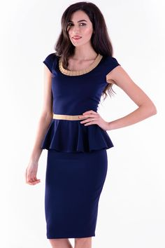 Rochie Elba Bleumarin – Karla.Club Elba, Peplum Dress, Dresses, Fashion, Gowns, Moda, La Mode, Peplum Dresses, Dress