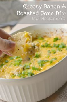 This dip is perfect for football season or any gathering with friends and family! Cheesy, bacon, and roasted corn combine for an amazing snack!