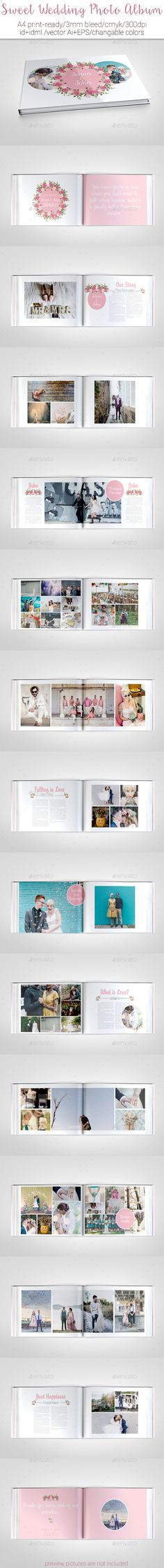 Sweet Wedding Photo Album Template #design #print Download: http://graphicriver.net/item/sweet-wedding-photo-album/11814114?ref=ksioks