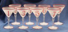 Martini Glasses 1920s Art Deco   Hand Painted Diamond Number Motif   8 Glasses