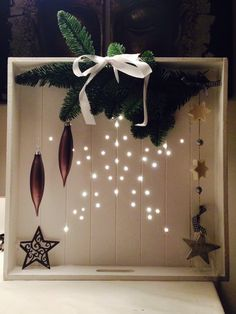 Xmas crate with a star made of lights, greenery & decs. Christmas Wood Crafts, Noel Christmas, Country Christmas, Christmas Projects, All Things Christmas, Winter Christmas, Handmade Christmas, Holiday Crafts, Christmas Ornaments