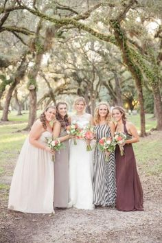 Beautiful mix and match bridesmaid dresses: http://www.stylemepretty.com/florida-weddings/miami-fl/2014/09/29/romantic-miami-wedding-at-red-fish-grill/