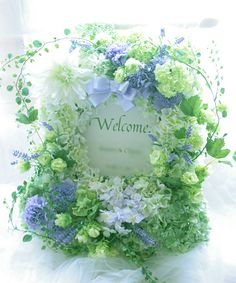 jp user_images 20130101 17 erika-vega 88 j Wedding Welcome Board, Welcome Boards, Blue Flowers, Wedding Flowers, Floral Wreath, Wreaths, Color, Inspiration, Weeding