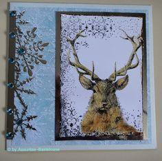 Himmlische,  gestempelte Weihnachtskarte mit einem Hirsch und Eissternen Stampin Up, Moose Art, Handmade, Animals, Stamping, Xmas Cards, Ice, Stars, Crafting