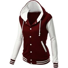 Xpril Women's Stylish Fabric Hoodie Baseball Jacket Overcoat (140 BRL) ❤ liked on Polyvore featuring jackets, coats and shirts