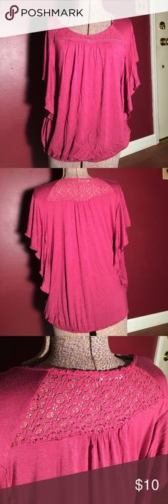 Maurices Top Lace XL Excellent used condition Maurices XL crochet Top. It has crochet deco on the front and back. Also has 'flown' sleeves. Elastic on bottom. 95% raylon 5% spandex. Maurices Tops Blouses