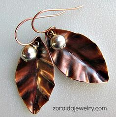 Copper Leaf and Sterling Bead Earrings | zoraida - Jewelry on ArtFire
