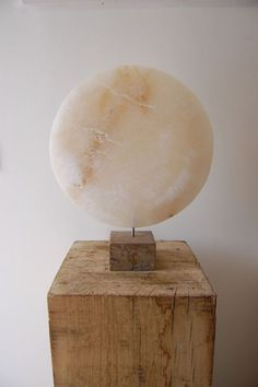 Alabaster Round Disk, Dish, Flat Circular Ring Shaped Sculptures / Statues statuette statuary sculpture by artist James Sutton titled: 'Moon II (Alabaster Circular Round Indoor Semi abstract statue/sculpture)'