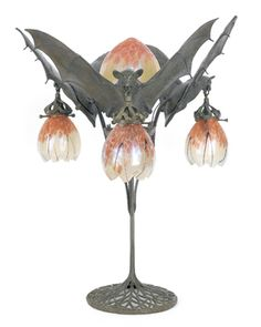 "Austrian Art Nouveau bronze table lamp from the early Twentieth Century. (A favorite from my ""...& Turn on the Lights"" board - to see that board, click this pin. --Anthea)"