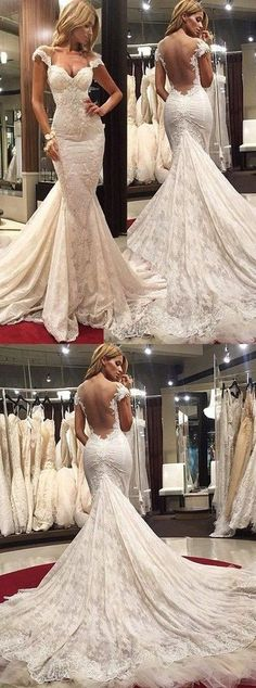 Gorgeous Scoop Illusion Back Cap Sleeves Wedding Dresses Court Train Lace Sexy Mermaid Prom Dress