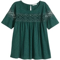 H&M Jersey top ($23) ❤ liked on Polyvore featuring tops, h&m, jersey knit tops, short sleeve tops, h&m tops and green top
