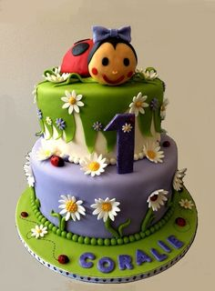 Ladybug Cake Inspired by so many similar beautiful cakes seen on CC. All is cake, the purple was a very nice light shade, in the photos. Pretty Cakes, Cute Cakes, Beautiful Cakes, Amazing Cakes, Ladybug Cakes, Cake Design Inspiration, Baby Birthday Cakes, Animal Cakes, Girl Cakes