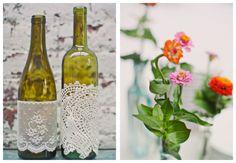 Wine bottle decor with lace Wedding Blog, Diy Wedding, Wedding Events, Wedding Ideas, Autum Wedding, Wedding Stuff, Brunch Wedding, Decor Wedding, Reception Decorations