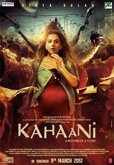 Theatrical release poster depicts a pregnant woman, looking sightly surprised, standing. The city of Kolkata, during Durga Puja, is in the background. Text at the bottom of the poster reveals the title, tagline, production credits and release date. By sujoy gosh