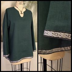 0eee34b6cc681 Linen Viking Tunic with metallic knotwork trim. Perfect garb for Norse
