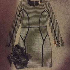 H&M Jersey Dress Cute form fitting dress! Dark/Gray striped with short zipper in back. May fit someone size 2 as H&M clothing tends to a bit small and because it is a form fitting dress. Worn once. In perfect condition. H&M Dresses Mini