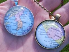 Cute - adoption necklaces with maps from the country where your child was born.  Custom made to order. #adopt #adoption #baby #kids