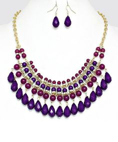 Jewel Toned Bib Set in Orchid Jewelry Crafts, Jewelry Art, Unique Jewelry, Jewelry Necklaces, Handmade Jewelry, Beaded Bracelets, Jewellery, Beaded Jewelry Designs, Necklace Designs