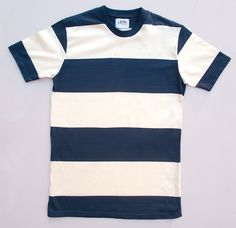 Blue and white block stripe t-shirt