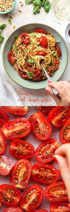 Roasted tomato and basil pasta vegan pasta cherryt Quick Vegan Meals, Vegan Dinners, Vegetarian Recipes, Cooking Recipes, Healthy Recipes, Vegan Pasta, Vegan Spaghetti, Roasted Tomatoes, Pasta Dishes