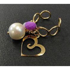 Anillo de Moda con Chapa de Oro, Perla, Cristal y Dije de Corazón | Ajustable