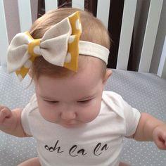 Mustard yellow polka dot and linen oversized bow headband  on Etsy, $12.00