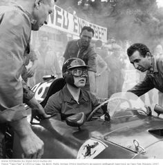 1957: British racing driver Mike Hawthorn in his Ferrari during practice for the 1957 Monaco Grand Prix. (Photo by J. Hardman/Fox Photos/Get...