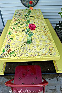 Hometalk Picnic Table Gets A Fl Paint Makeover Mexican Outdoor Painting