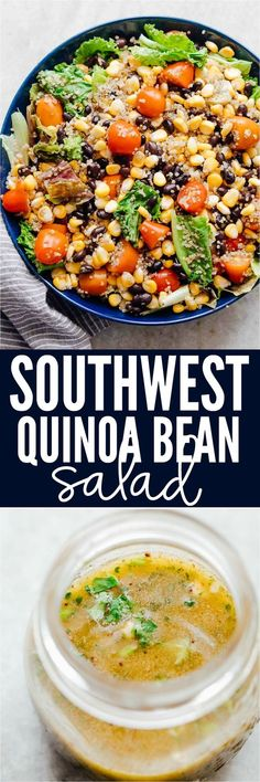 Southwest Quinoa Bean Salad is a healthy, vegetarian salad recipe that's packed with flavour and nutrients! Its loaded with lettuce, quinoa, black beans, corn and tomatoes and drizzled with a delicious southwest dressing.