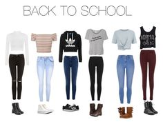 """Back to school outfit guide:)"" by brooke3103 ❤ liked on Polyvore featuring WearAll, Glamorous, Miss Selfridge, Warehouse, Topshop, Polo Ralph Lauren, River Island, T By Alexander Wang, J Brand and adidas"