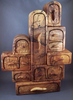 "Artist: Chuck Augustine - ""Stax: 11 wide 15 tall 3 deep multiple wood boxes stacked to create on jewelry box""  #artsintheheart #woodwork"