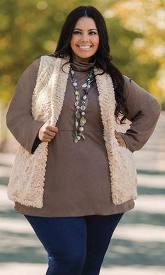 Aspen Faux Fur Vest / MiB Plus Size Fashion for Women / Winter Fashion / http://www.makingitbig.com/product/5082