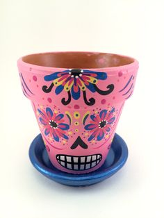 Day of the Dead Flower Pot Planter Set with Tray Sugar Skull Catrina Succulent garden hand painted terra cotta pot skeleton mask by SpiritofAine on Etsy https://www.etsy.com/listing/478931532/day-of-the-dead-flower-pot-planter-set