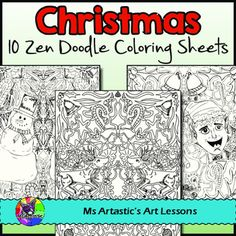 Christmas and Holiday coloring sheets suitable for all students. All 10 pages are hand drawn by Ms Artastic. These zen doodle coloring sheets are very detailed and will keep your students busy during the days leading up to Christmas. Get the ULTIMATE ZEN DOODLE COLORING SHEET BUNDLE for ALL SEASONS and SAVE $5.00! 70 Seasonal coloring sheets to last you an entire year!