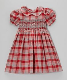 Look at this #zulilyfind! Red & Gray Plaid Party Dress - Infant, Toddler & Girls by Pears + Bears by Kayce Hughes #zulilyfinds